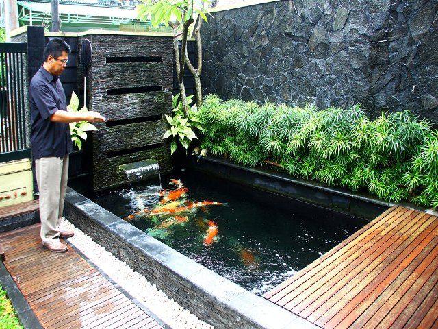 40 gambar kolam ikan minimalis kolam ikan koi kolam ikan for Garden pond design malaysia