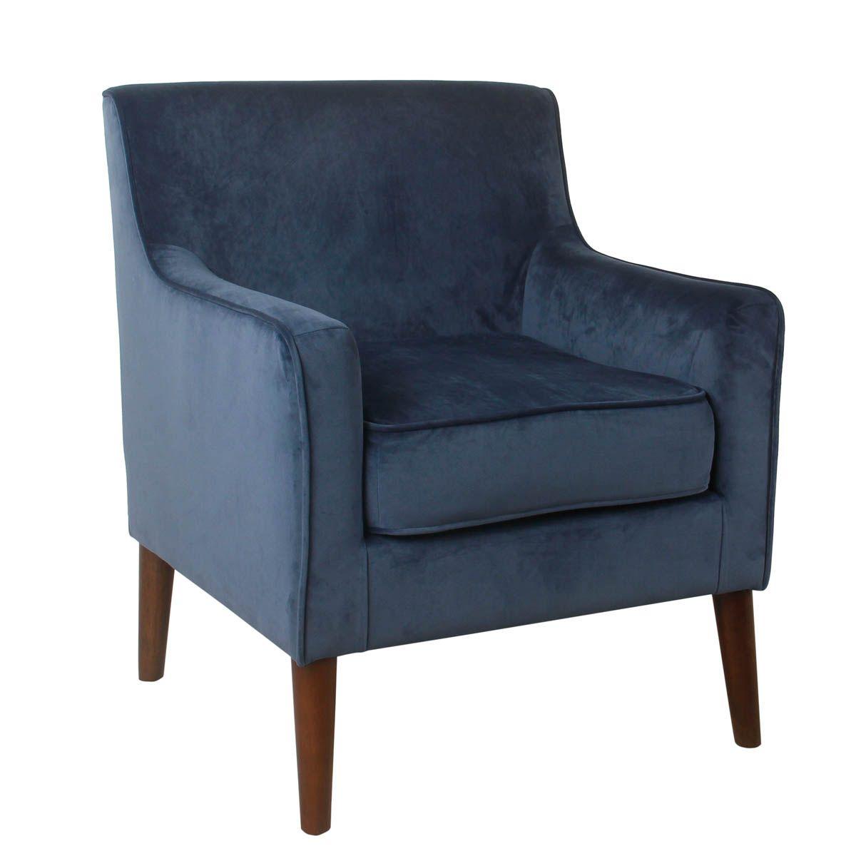 Best Davis Mid Century Velvet Accent Chair Navy Blue Blue 400 x 300