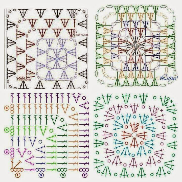 Interesting ideas for decor: Многообразие квадрата | Grannies and ...