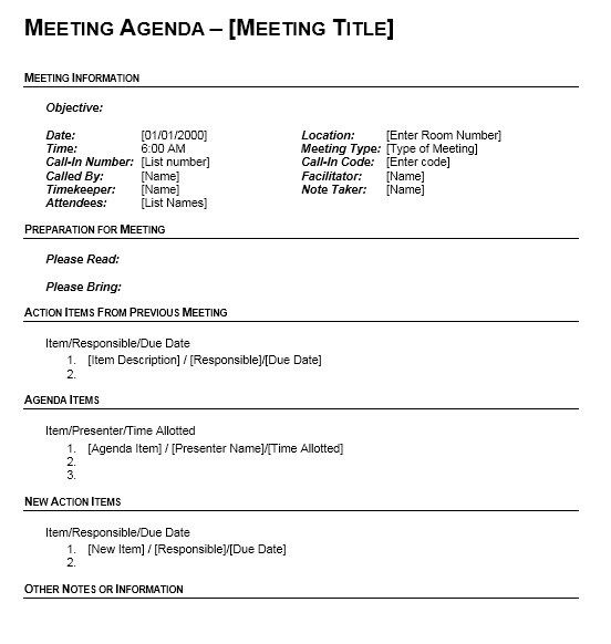 Monthly Meeting Agenda Template Stationary Templates Pinterest - meeting agenda template word