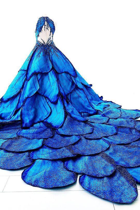 Photo of Frozen Times –  fashion-runways: MAK TUMANG Blue Morpho dress  … – Frozen Ti…