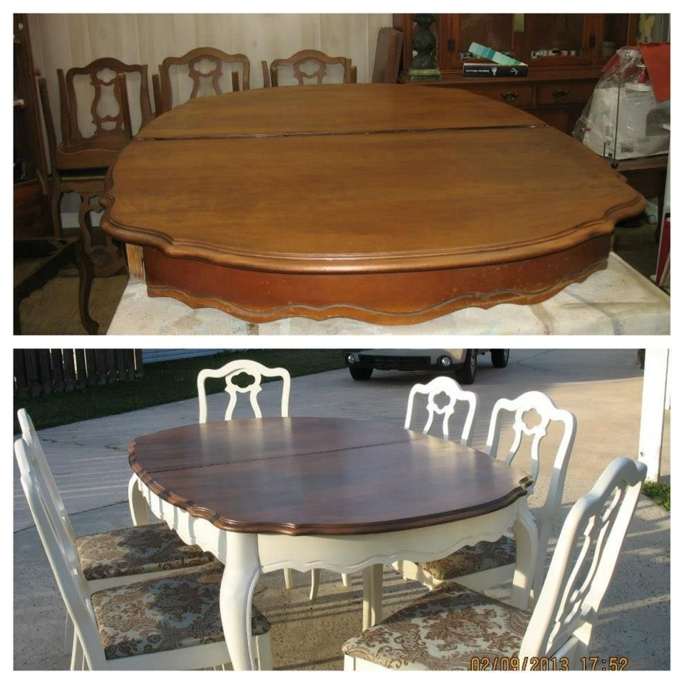Refinishing Kitchen Table refinish dining room table. Before and after. White base  #Diningroomdecorating