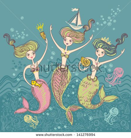 Mermaids. Three little funny mermaids playing in the sea waves.