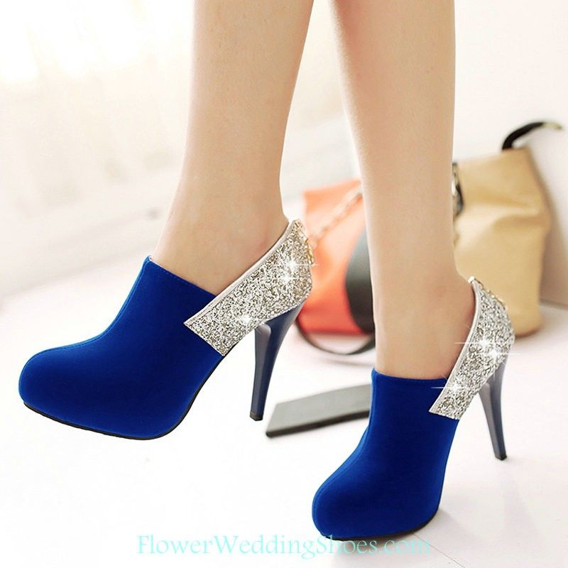 e0ff12289e31d Free Shipping Round Toe Royal Blue With Silver Sequin Prom Shoes ...