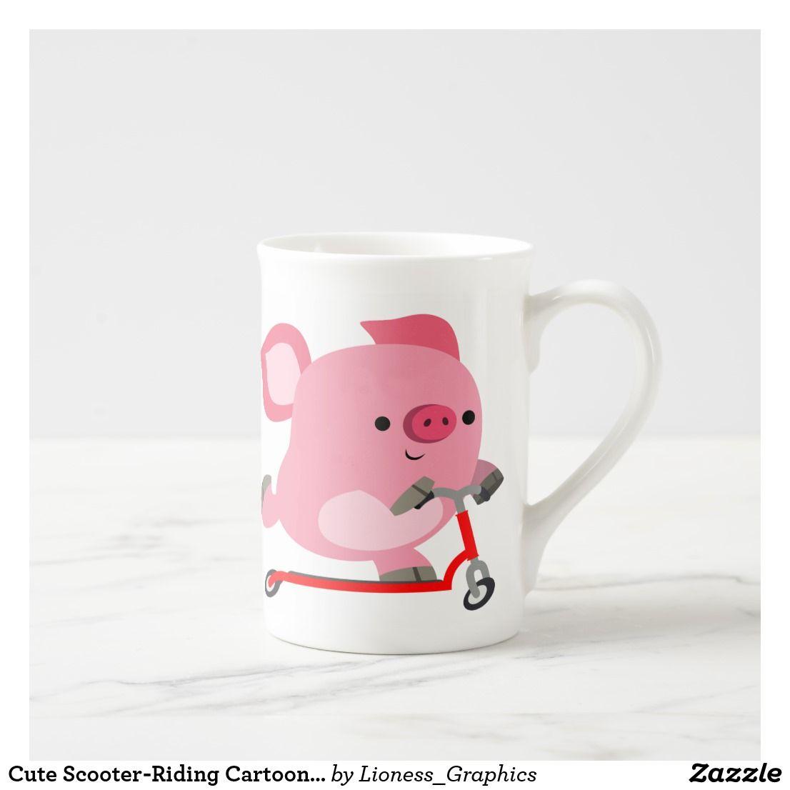 Cute Scooter-Riding Cartoon Pig Bone China Mug  Zazzle.com  Pig