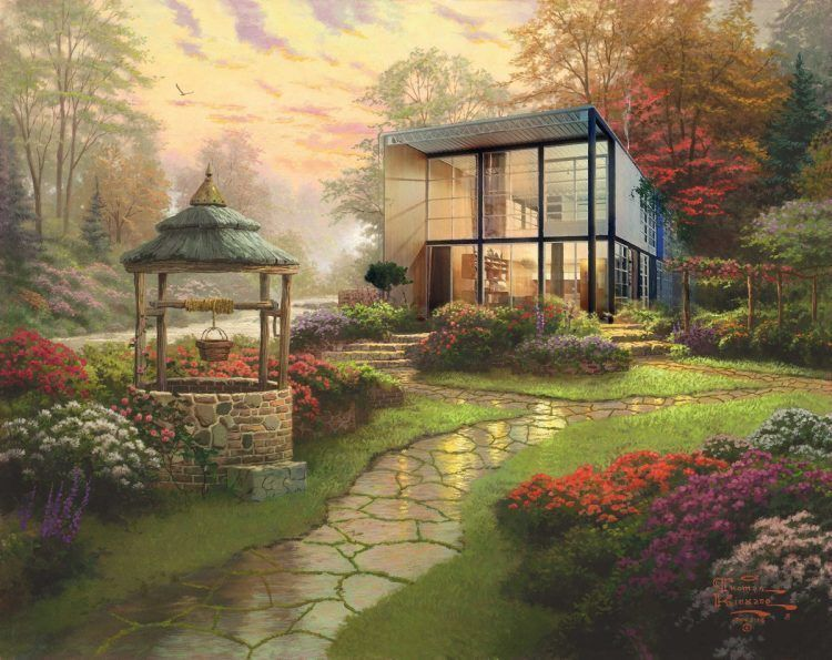 Iconic Modernist Architecture Beautifully Reimagined In The Pastoral Style  Of Thomas Kinkade Paintings