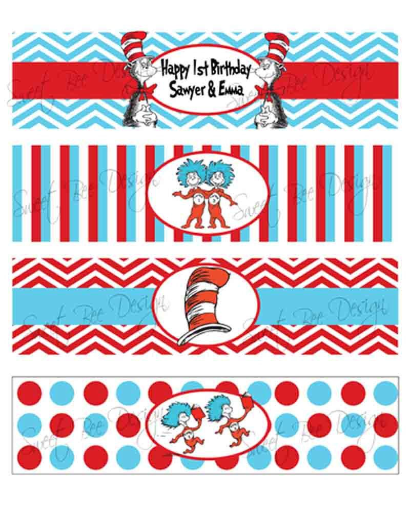 Dr Seuss Thing 1 & Thing 2 Birthday party or Baby Shower Water ...