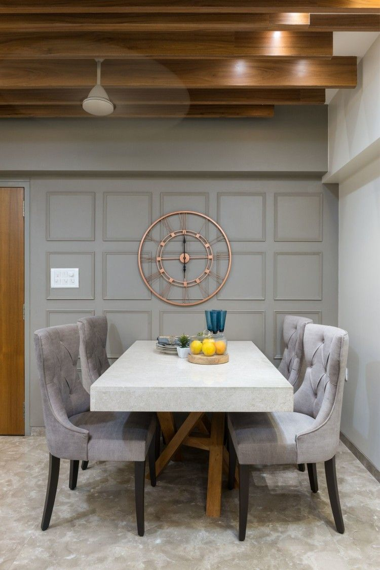 Design of a minimalist style dining room with white table ... on Dining Table Ceiling Design  id=47296