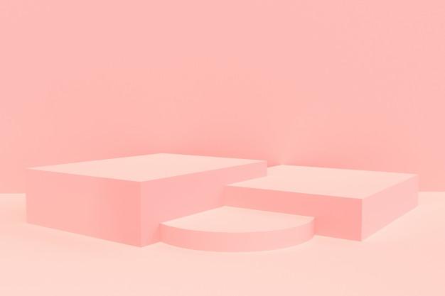 3d Rendered Pink Podium Product Display Mockup Display Mockup Display 3d Rendering
