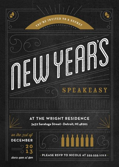 Party Invitations New Year S Speakeasy By Genna Cowsert 1920s