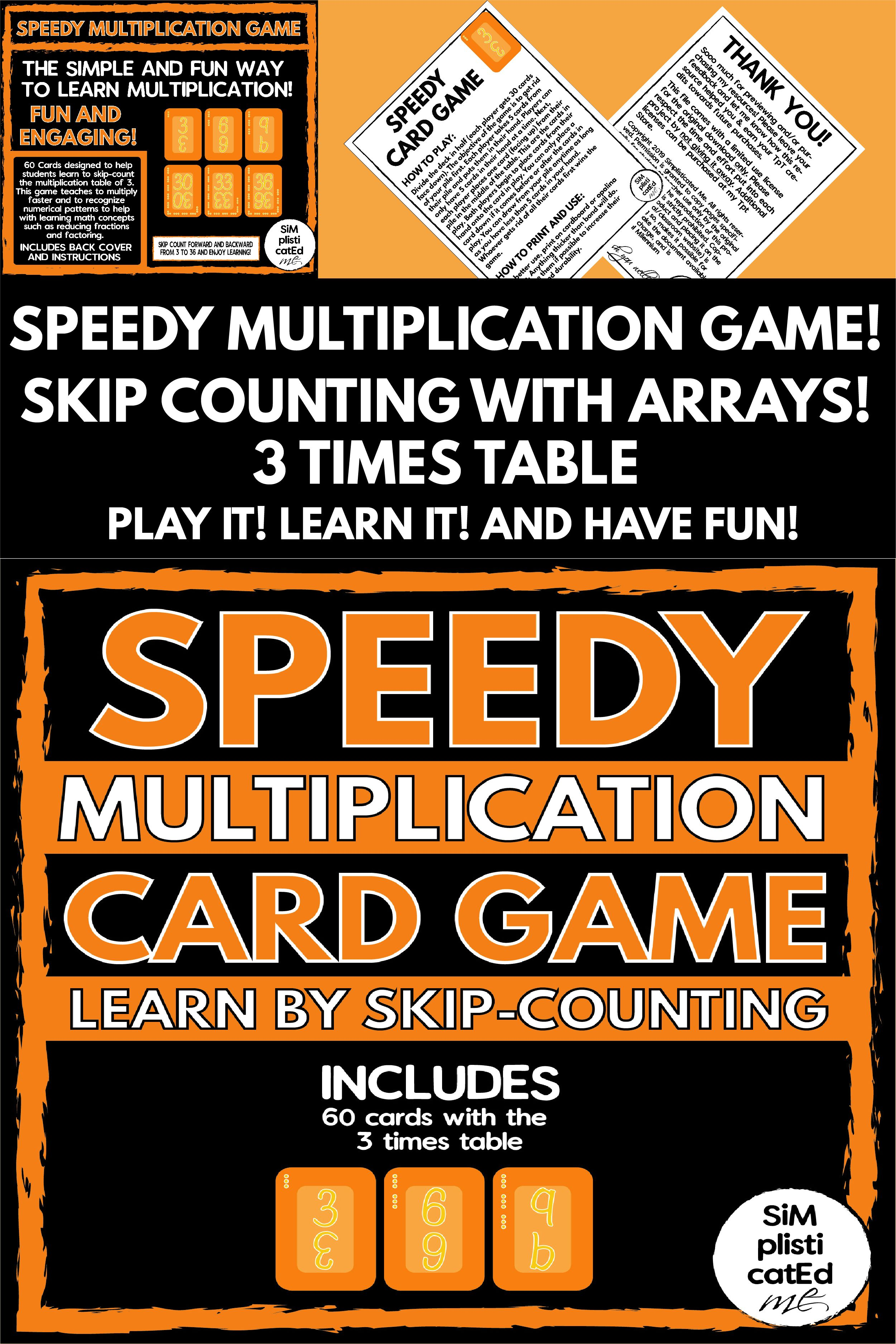 Speedy The Multiplication Card Game 3 Times Table Skip Counting Arrays Multiplication Cards Teaching Multiplication Card Games [ 3751 x 2501 Pixel ]
