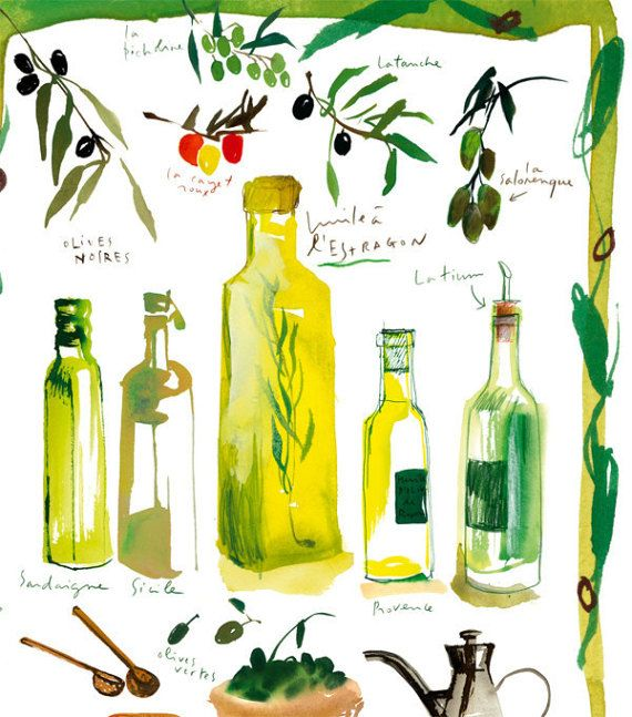 Olive oil bottle poster, Italian kitchen print, Food art, Italian ...