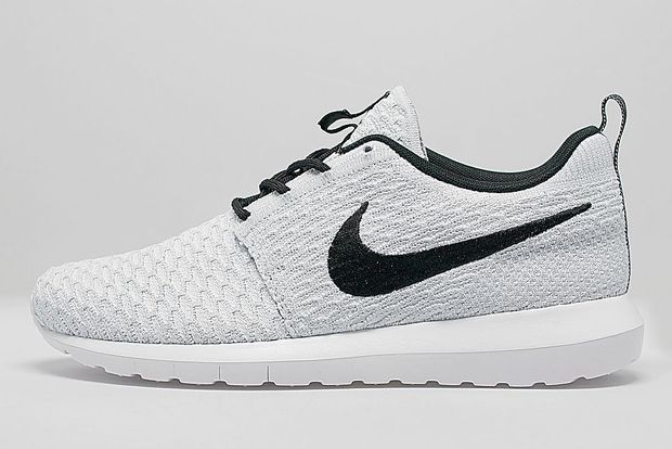 nike roshe run flyknit all white