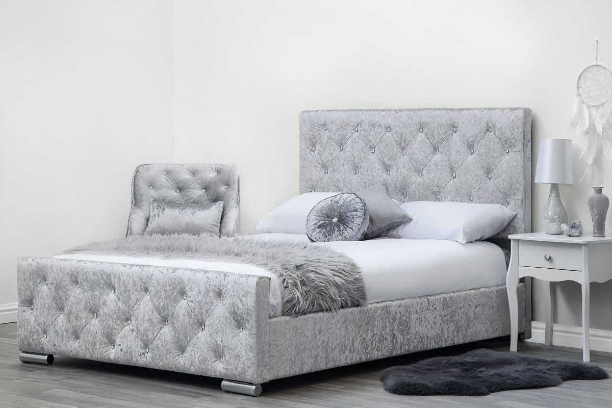 Beaumont Diamante Silver Crushed Velvet Fabric Upholstered ...
