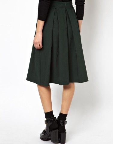 ASOS | ASOS Midi Skirt with Pleat Detail at ASOS