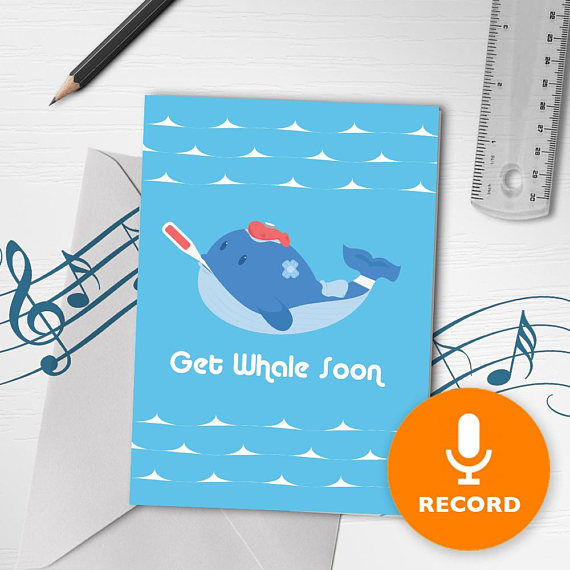 Funny Get Well Soon Card With Recordable Music Get Well Musical