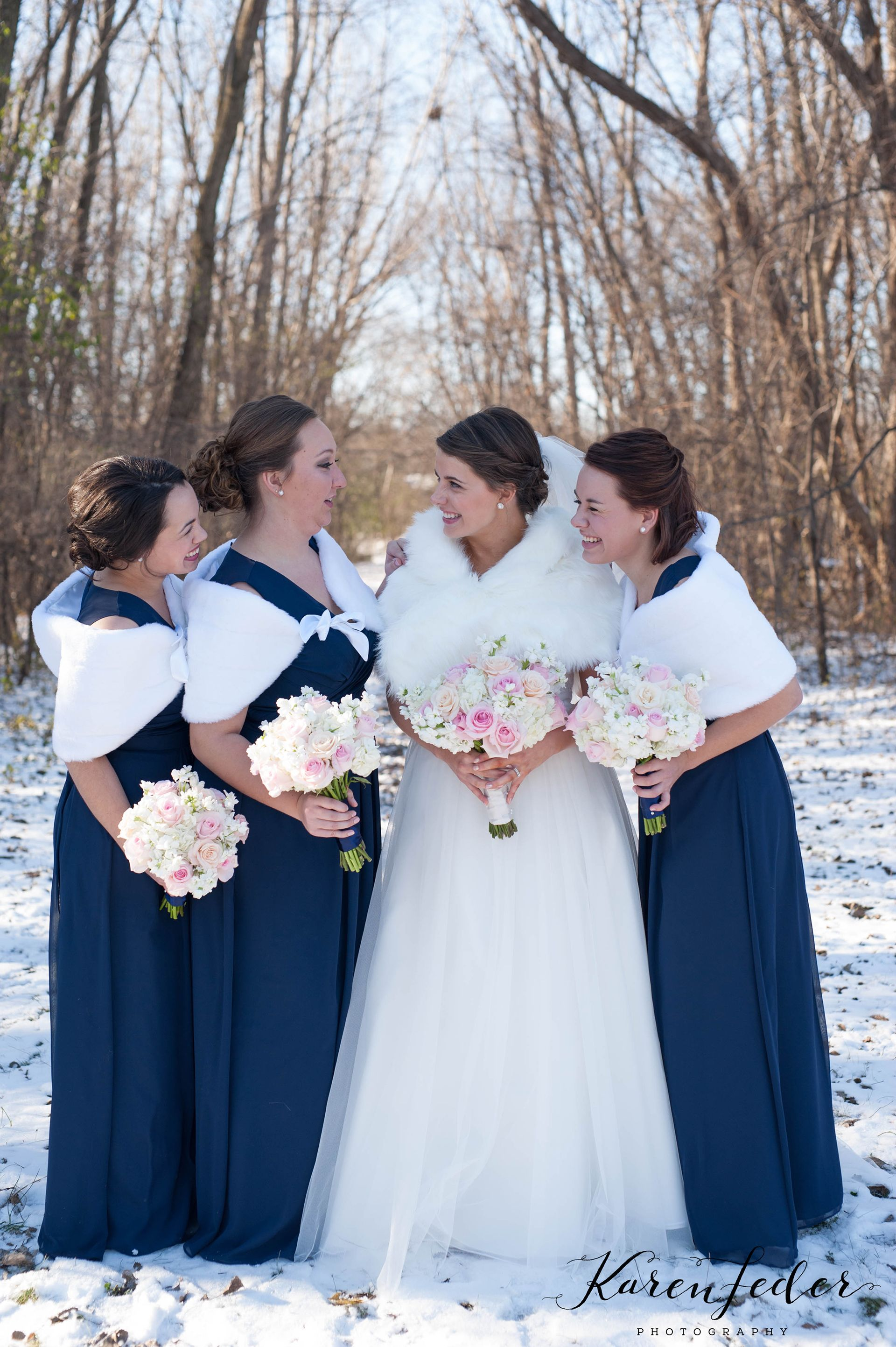 Love This Idea For A Winter Wedding Fur Shawls And Navy Bridesmaid Dresses Karen Feder Photography