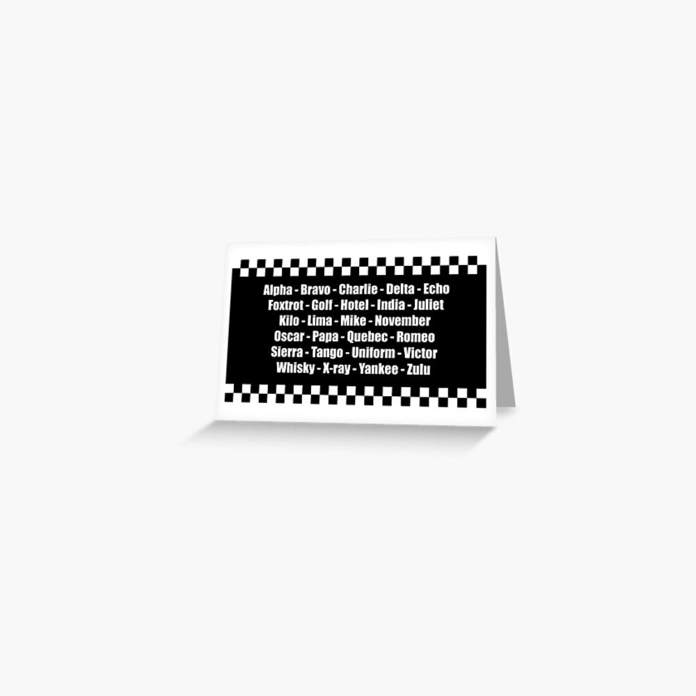 Phonetic Alphabet Police Force Checkerboard Design Greeting Card By Creativetwins Redbubble Phonetic Alphabet Police Force Greeting Cards