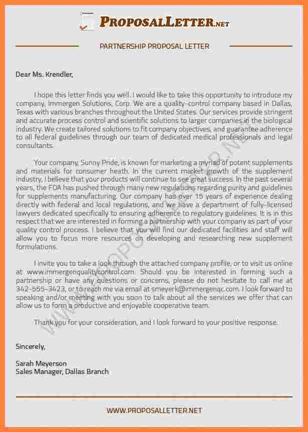 partnership proposal sample letter