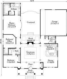Small U Shaped House Plans First Floor Plan Of House Plan 40027 U Shaped House Plans Courtyard House Plans U Shaped Houses