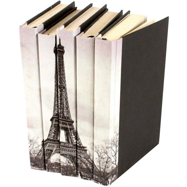 Eiffel Tower Book Set of 5 (1.845 NOK) ❤ liked on Polyvore featuring home, home decor, books, fillers, decor, eiffel tower home decor and black home decor