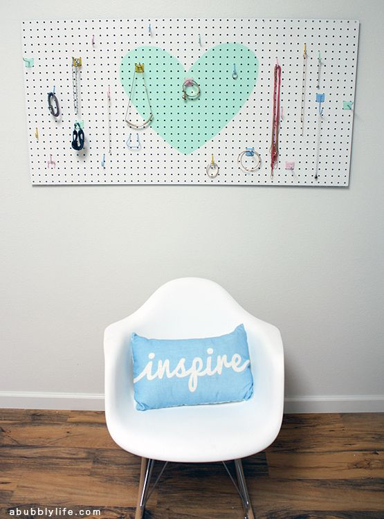 Heart Pegboard Jewelry Organizer DIY Decorating Modern and Spaces