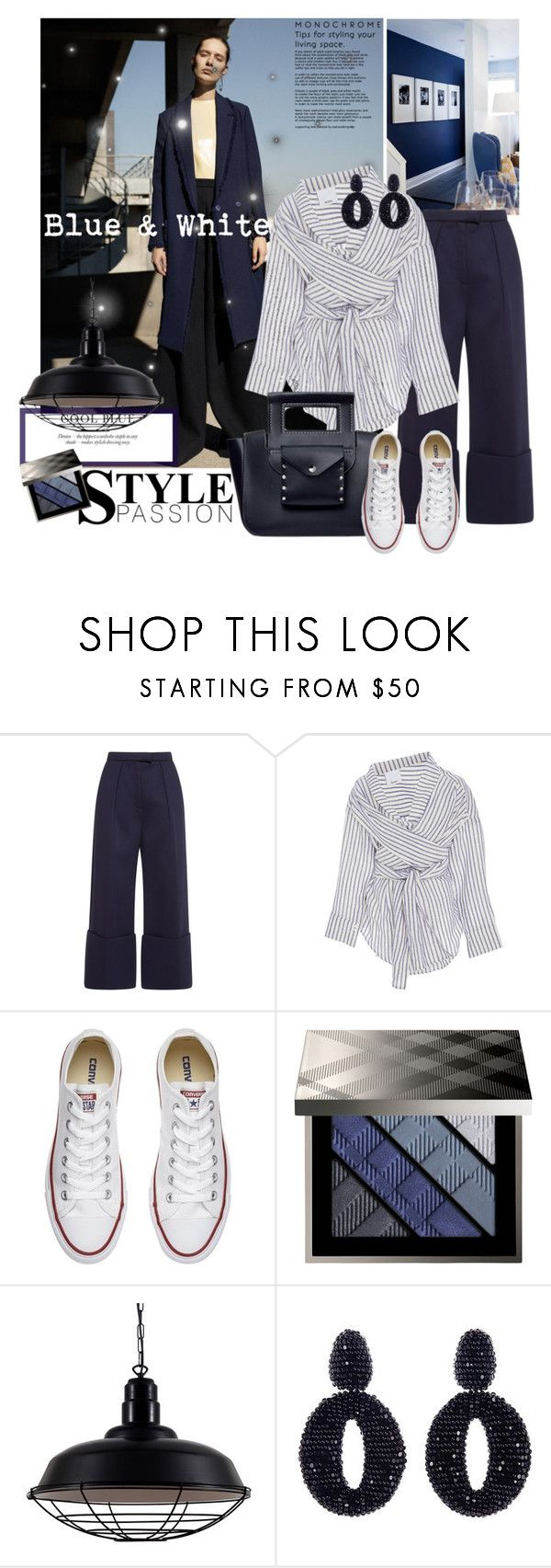 """Blue & White"" by mariapia65 ❤ liked on Polyvore featuring Acler, Converse, Burberry, Oscar de la Renta, white and Blue"