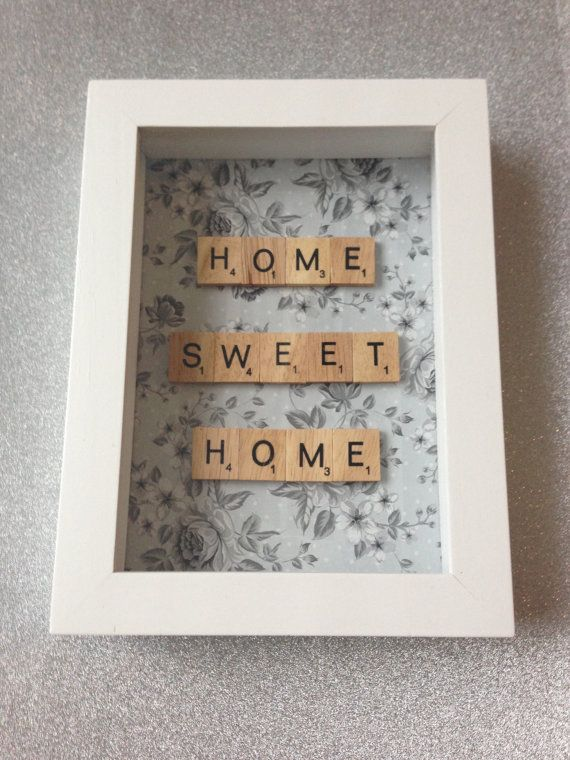 Home Sweet Home scrabble word frame, New home gift, Scrabble art - word design frames