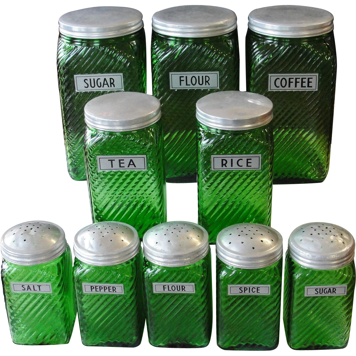 Vintage Owens Illinois Forest Green Canister Set from Bread ...