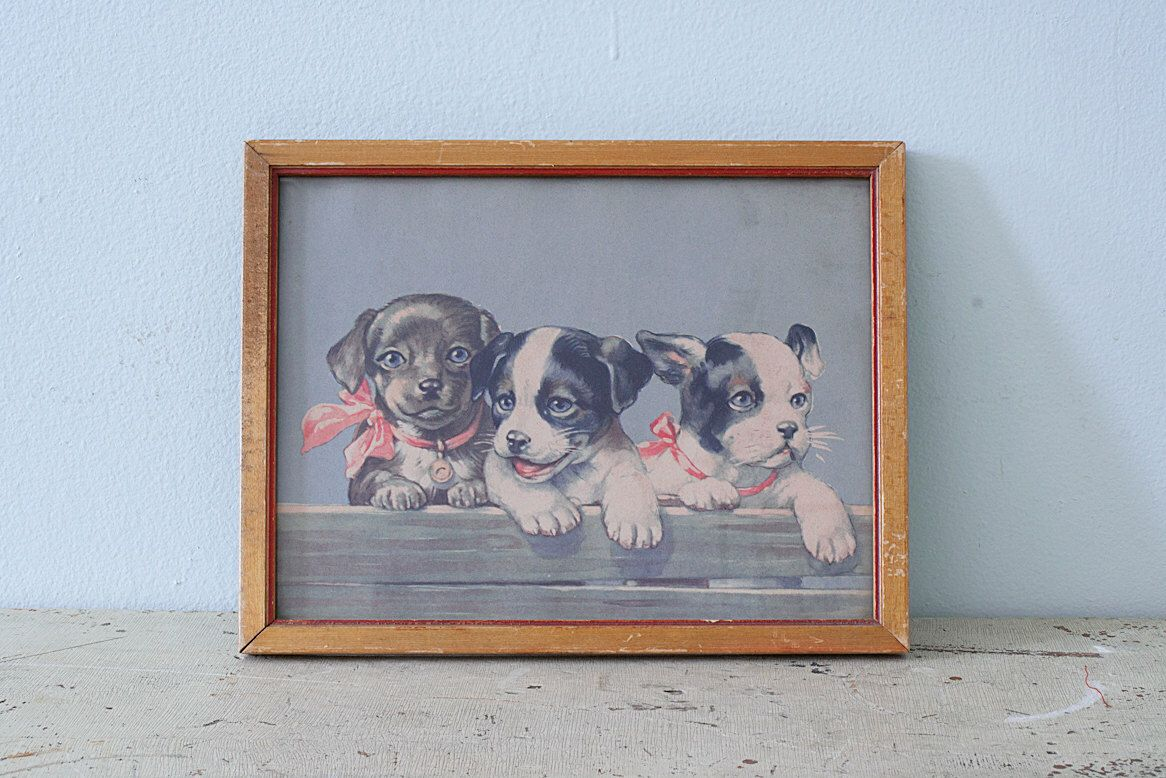 Vintage 1950\'s Small Frame with Puppies Lithography by Pigeonatelier ...