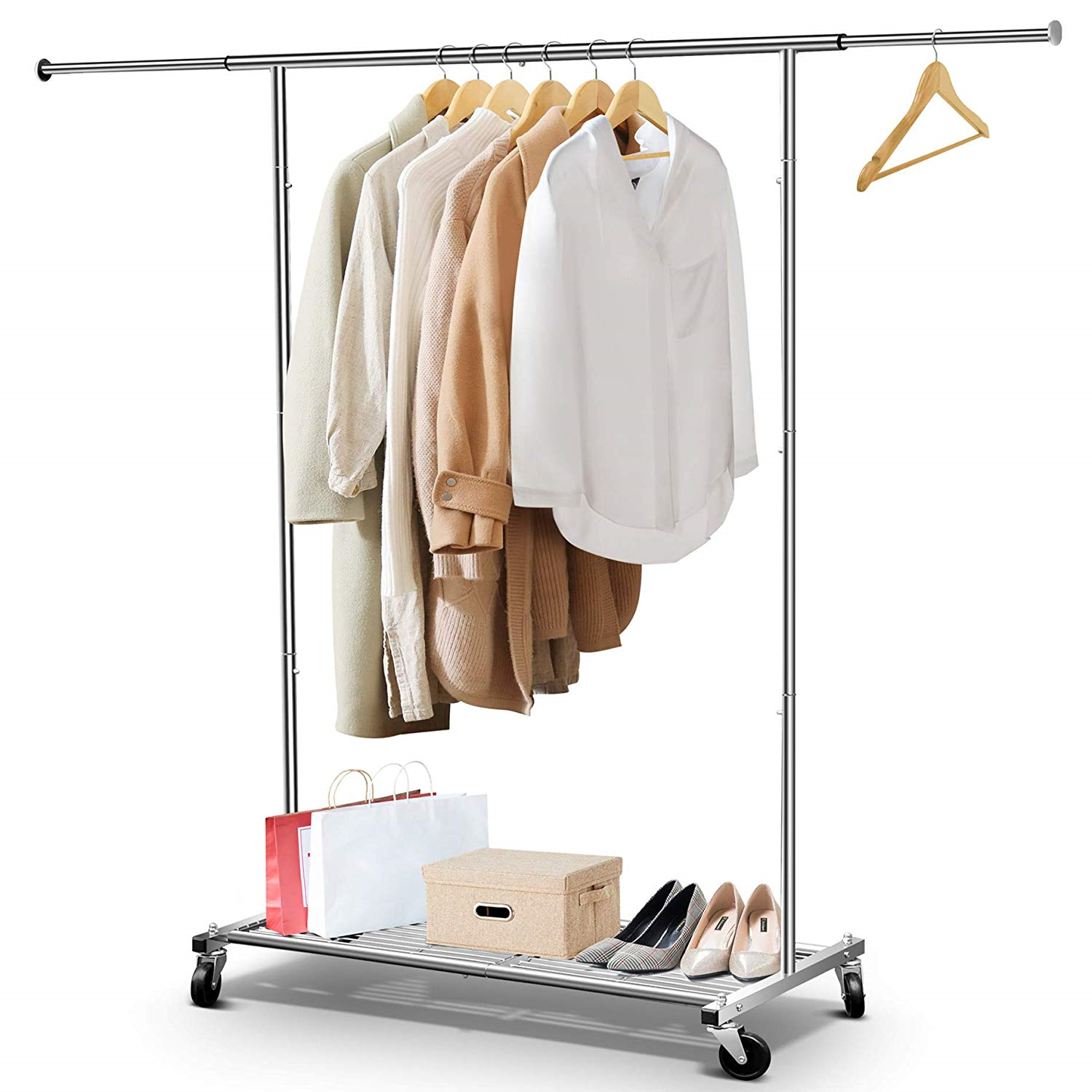 Heavy Duty Commercial Grade Clothing Rolling Rack With Mesh
