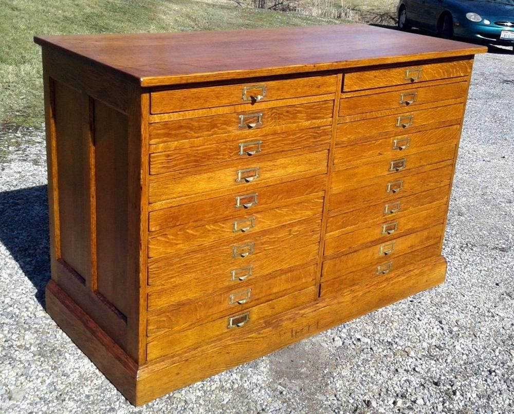 Antique 20 drawers oak map and blueprint cabinet divided flat file antique 20 drawers oak map and blueprint cabinet divided flat file circa 1920 malvernweather Gallery
