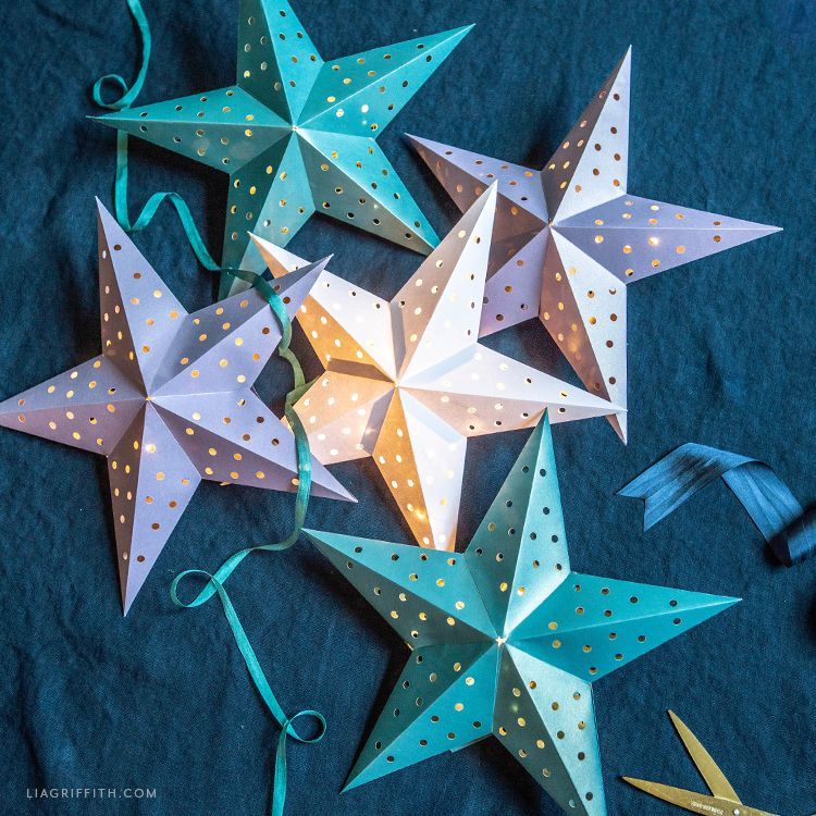 Frosted Paper Star Lanterns Template & Tutorial - Lia ...
