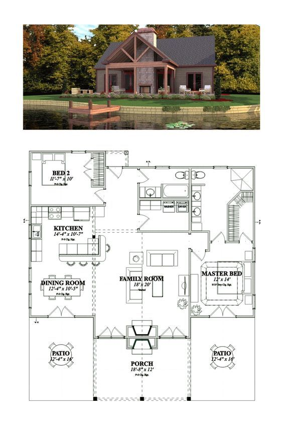 Bungalow Style House Plan 78776 With 2 Bed 2 Bath Bungalow House Plans Bungalow Style House Plans Rustic House Plans