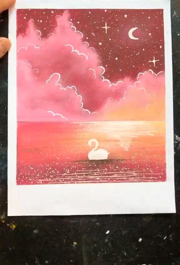 Oil Pastel Night Landscape