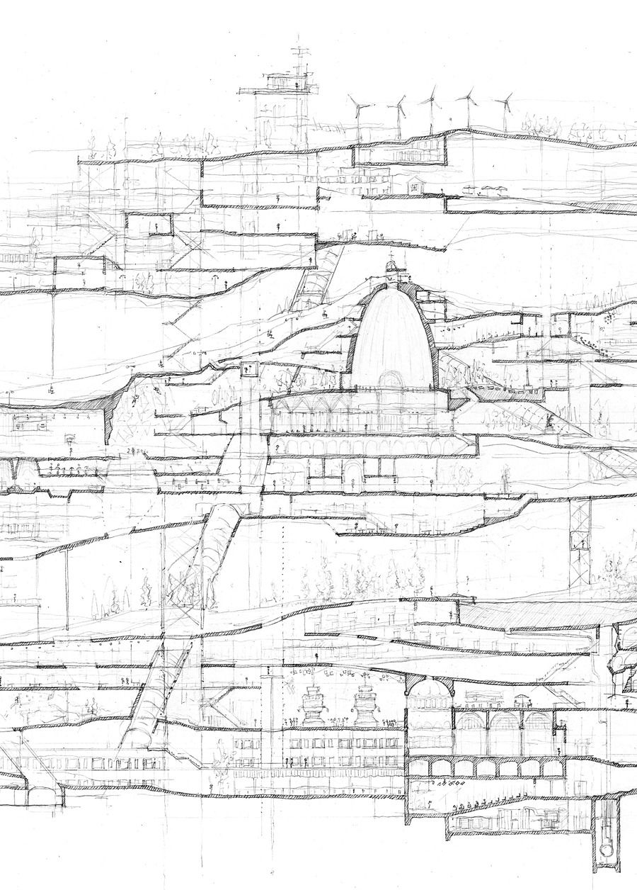 55 And Within This Behemoth Its Inhabitants Roam Free The Architectural Diagram Drawings Pinterest Amazing Section Sketch City In A Building