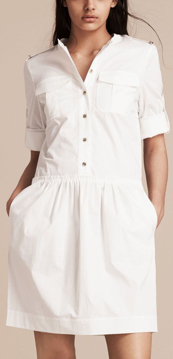 0fdfafbaca Military Style Shirt Dress in White