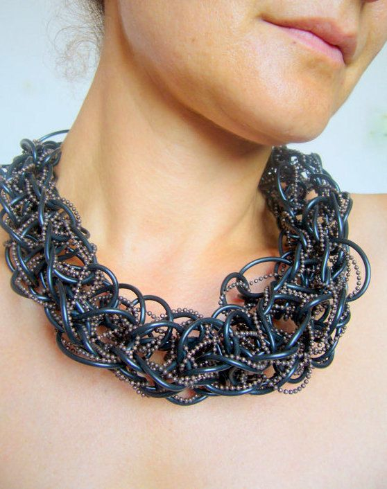 Rubber choker /Black bib artisan / Gothic necklace by SonizDesign