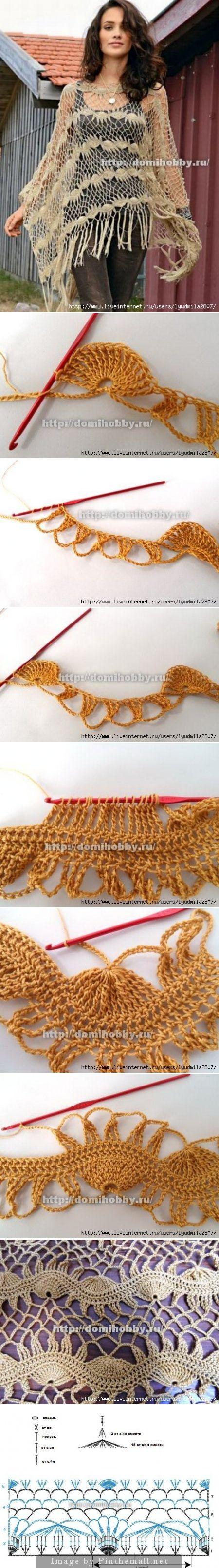 crochet poncho chart ✿⊱╮Teresa Restegui http://www.pinterest.com/teretegui/✿⊱╮