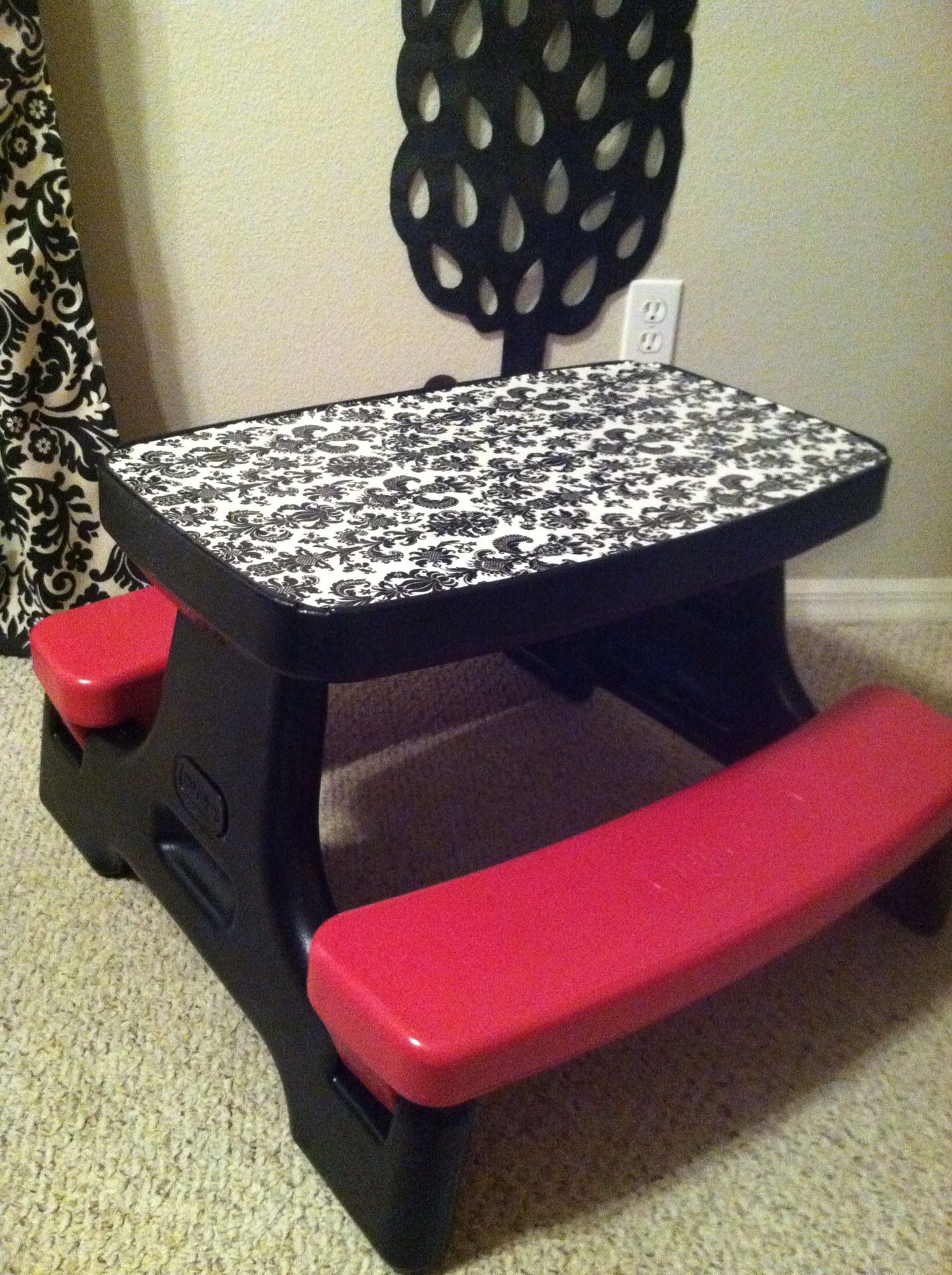 Mod Podge Kitchen Table Diy Repurposed Little Tikes Table 2 Cans Of Spray Paint Damask