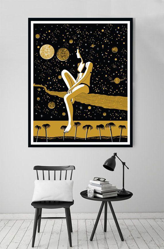 Starry Night, Wall Art Prints, Modern Decor, Black and White Prints ...