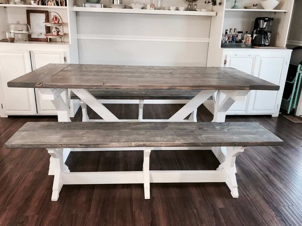 Two Tone Weathered Gray X Farmhouse Table and Benches
