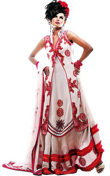 Pakistani dress Offwhite Red Sharara Offwhite Crinkle Chiffon Shirt.
