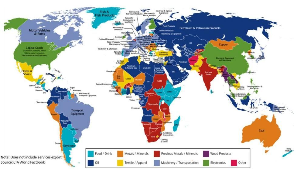 This handy map details each countrys biggest export the world this handy map details each countrys biggest export gumiabroncs Gallery