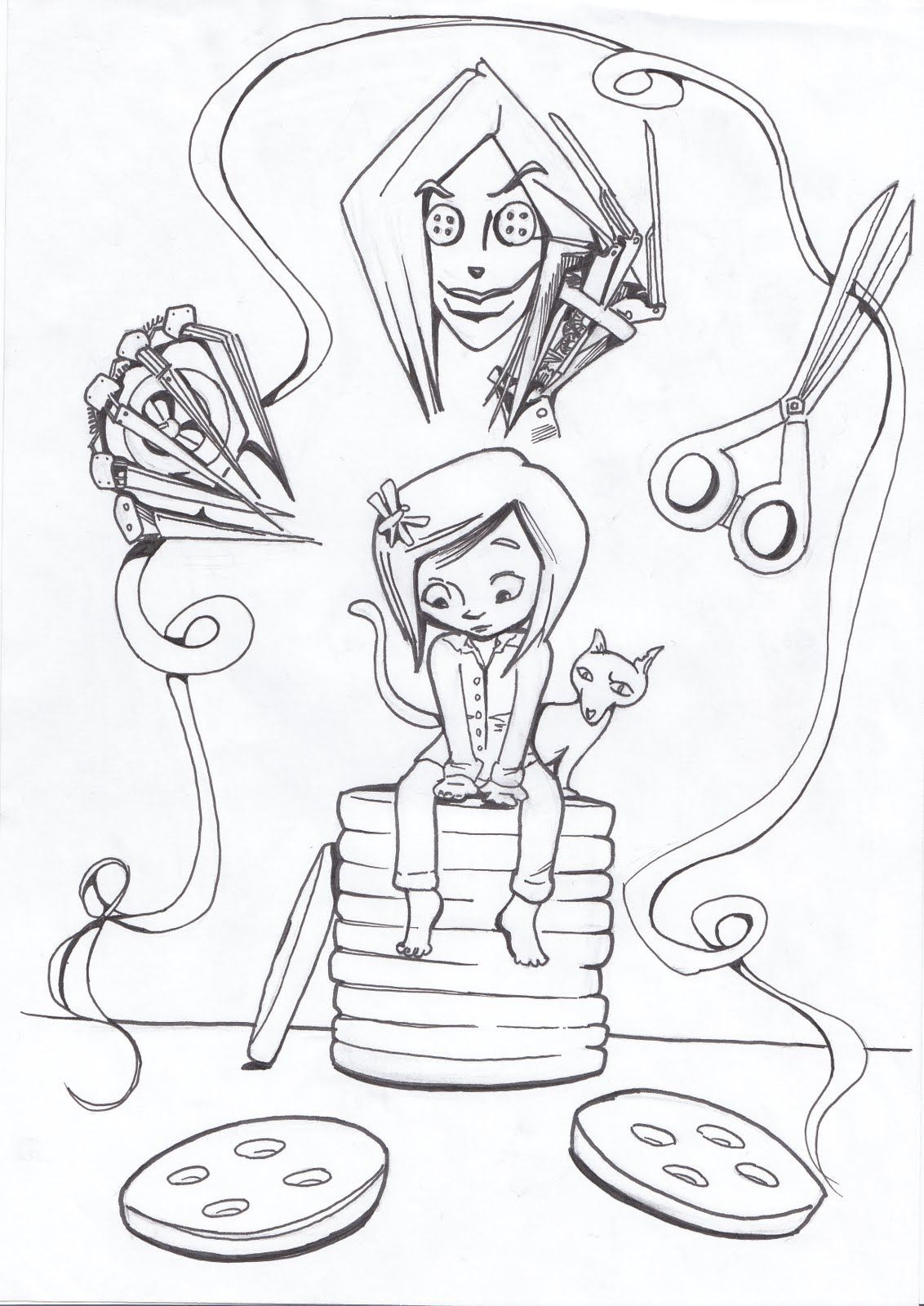 Colouring pages james and the giant peach - Coraline Coloring Pages Google Search