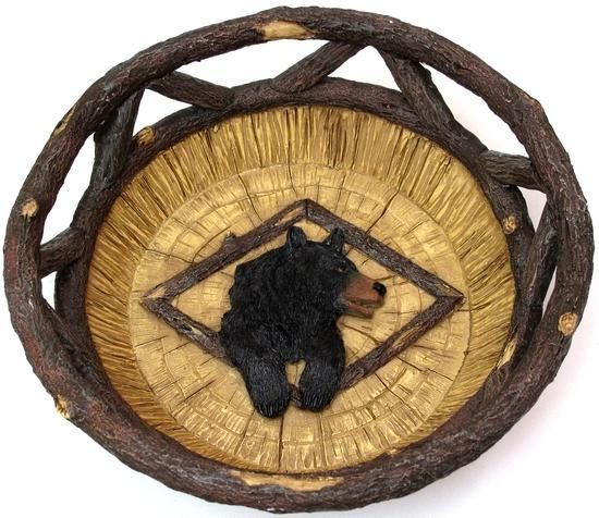 Black bear bowl basket cabin lodge kitchen table decor for Rustic bear home decor
