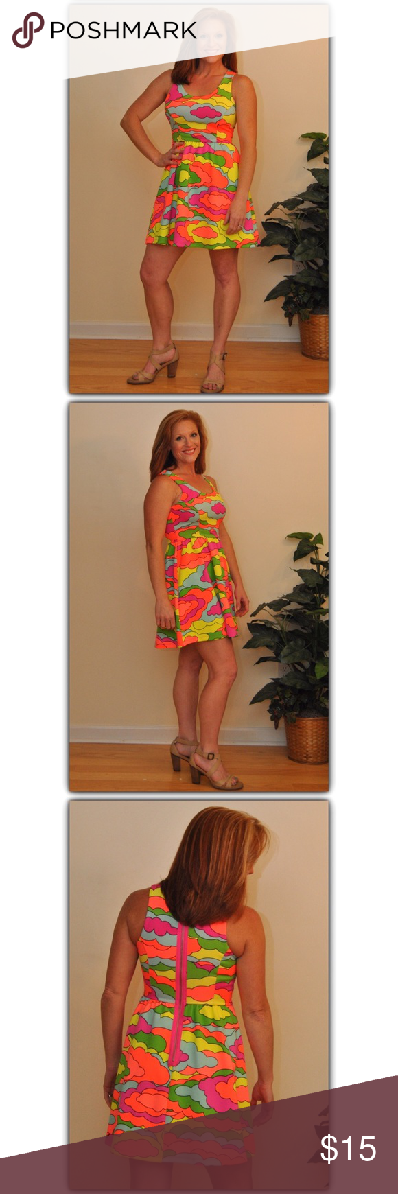 """PRICE ⤵️‼️Head Turning Fit & Flair Dress! This Fantastic Nanette Lepore Colorful Neon Dress features a Hot pink zipper showing in the back! Measures: Total Length 31"""", Under arms laying flat 15.5"""", Shoulder to waist 15"""", Waist to hem 17.5""""....Fabric of this dress is Made of 93% Polyester 7% Spandex. My measurements in pics are Bust 36"""" Waist 27"""". This Darling dress is in Perfect Condition!! Nanette Lepore Dresses Mini"""