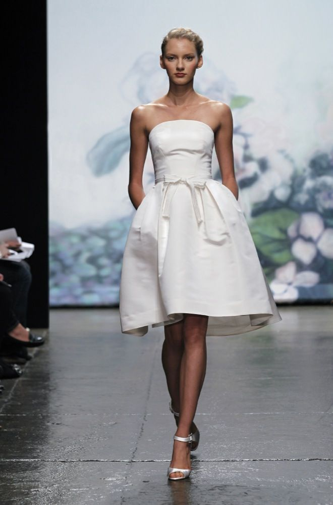 Wedding Dresses Short And Sweet Dress With A Bow Accent By Monique Lhuillier
