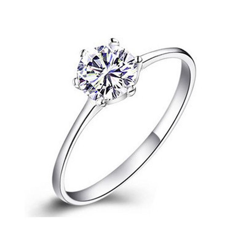 PATICO White Round CZ Crystal Rings For lady Simple Sterling 925 ...