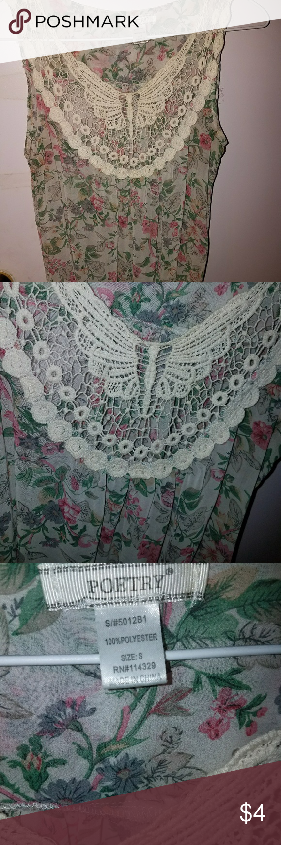 Sheer floral butterfly lace blouse Sheer floral top woth beautiful butterfly detailing on the neckline Tops Blouses